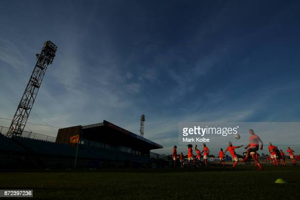 The Brisabne Roar team warmup before the round three WLeague match between the Western Sydney Wanderers and the Brisbane Roar at Marconi Stadium on...