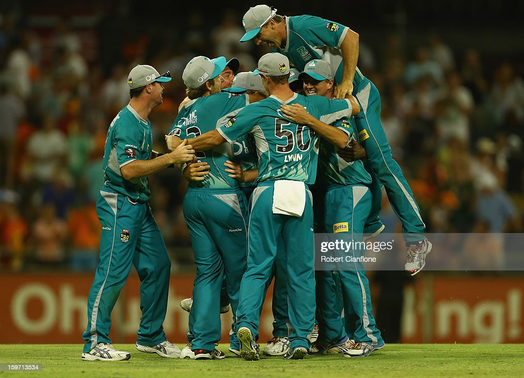 The Brisbane Heat celebrate after they defeated the Scorchers in the Big Bash League final match between the Perth Scorchers and the Brisbane Heat at the WACA on January 19, 2013 in Perth, Australia.