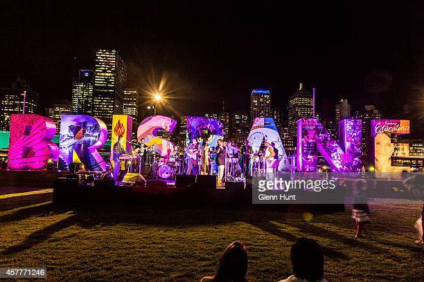 The Brisbane sign in the Cultural Forecourt South Bank during the G20 celebration opening night on October 24 2014 in Brisbane Australia The G20...