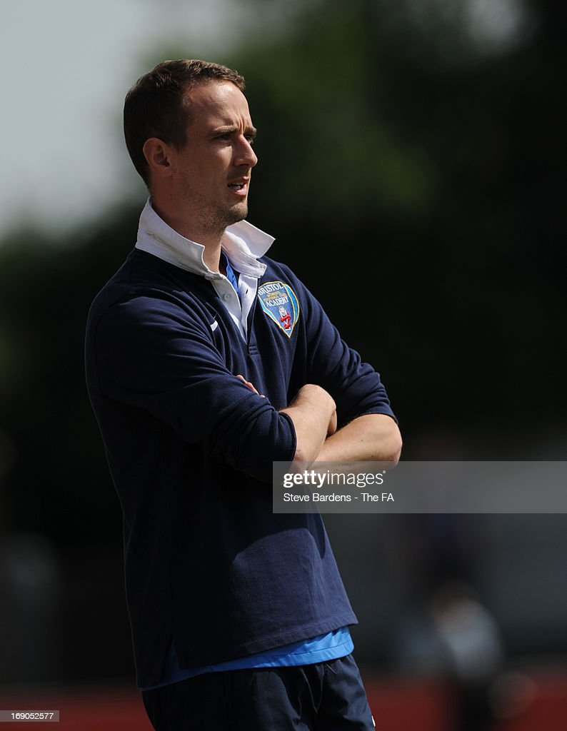 The Bristol Academy Women's FC manager Mark Sampson wsatches the action during the FA WSL Continental Cup match between Arsenal Ladies FC and Bristol Academy at Meadow Park on May 19, 2013 in Borehamwood, England.