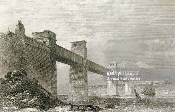 The Britannia Tubular Bridge Across The Menai Strait Between The Island Of Anglesey And The Mainland Of Wales In The 19Th Century From Cyclopaedia Of...