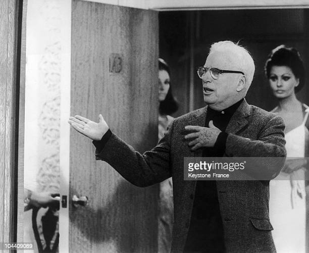 The British actor and filmmaker Charlie CHAPLIN directing his last film THE COUNTESS FROM HONGKONG in Pinewood studio Britain The film is starring...