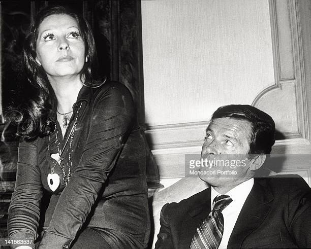 The British actor Roger Moore and his third wife the Italian actress Luisa Mattioli Rome 1974