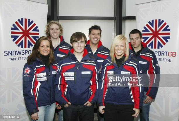 The British Alpine Ski Team are seen in London for the premiere of new team documentaries at the Vue cinema Leicester Square before they leave to...