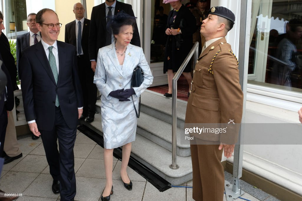 The British ambassador in Germany Sir Sebastian Wood and Princess Anne attend a birthday party for Queen Elizabeth II June 15, 2017 in Hamburg, Germany.
