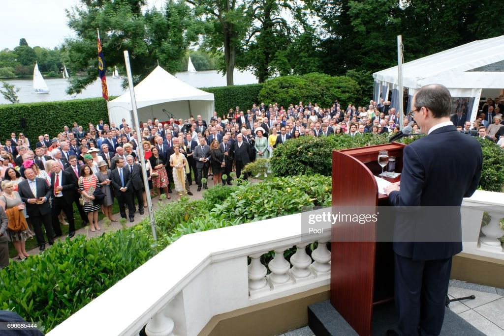 The British ambassador in Germany Sir Sebastian Wood speaks during a birthday party for Queen Elizabeth II June 15, 2017 in Hamburg, Germany.