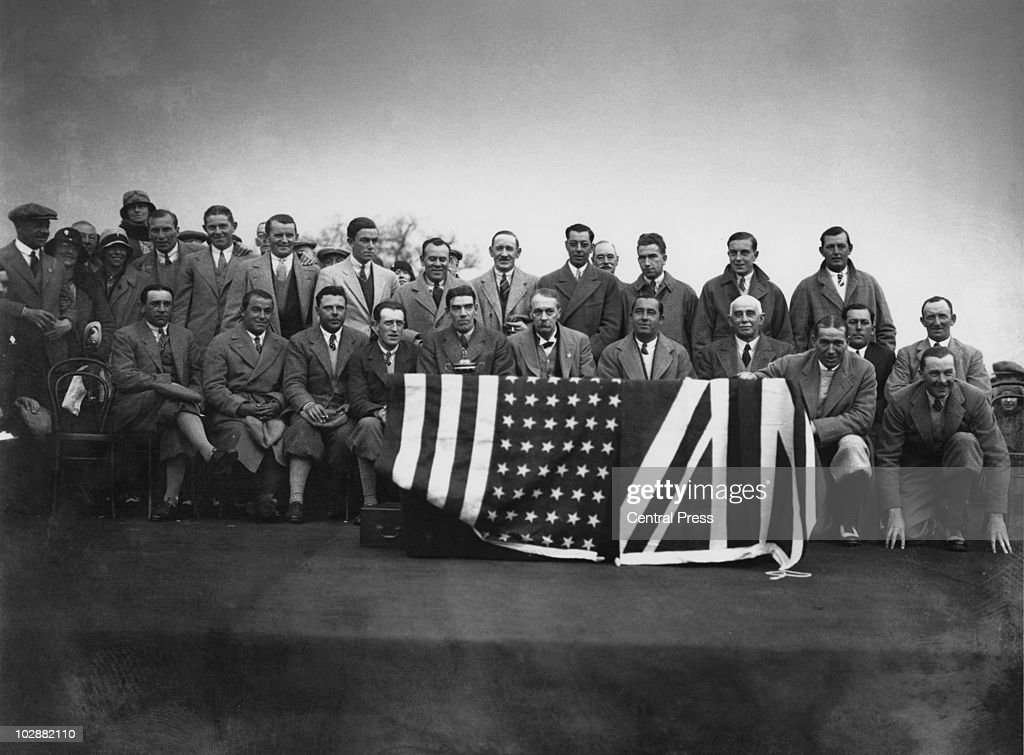 The British and American Ryder Cup teams at Moortown Golf Club in West Yorkshire, April 1929. In the front row, sixth from the right, is English entrepreneur Samuel Ryder (1958 - 1936), founder of the contest.