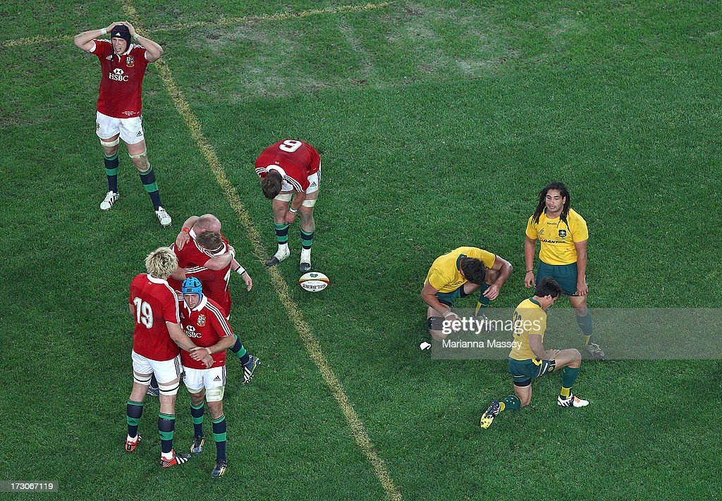 The British and Irish Lions players celebrate their win over the Wallabies during the International Test match between the Australian Wallabies and the British & Irish Lions at ANZ Stadium on July 6, 2013 in Sydney, Australia.
