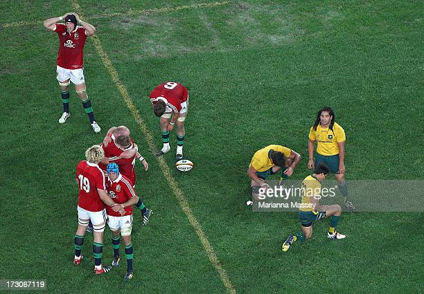 The British and Irish Lions players celebrate their win over the Wallabies during the International Test match between the Australian Wallabies and...