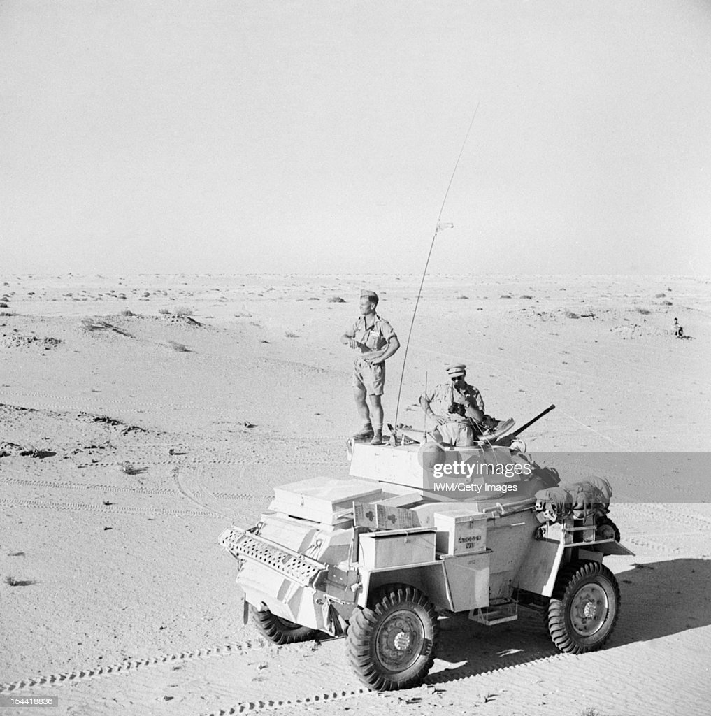 The British Army In North Africa 1942, A Humber Mk II armoured car of the 12th Royal Lancers on patrol south of El Alamein, July 1942.