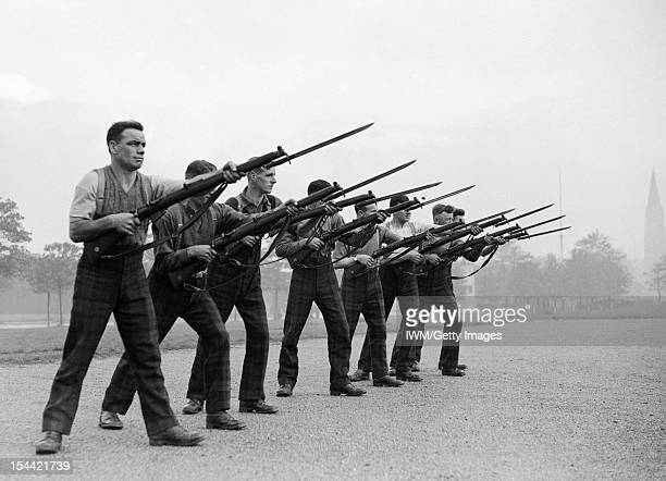 The British Army In The United Kingdom 193945 Men of the Argyll and Sutherland Highlanders 51st Highland Division during bayonet practice November...