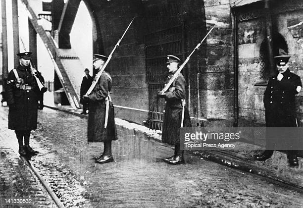 The British Army of the Rhine guard the Hohenzollern Bridge in Cologne after World War I 10th February 1919