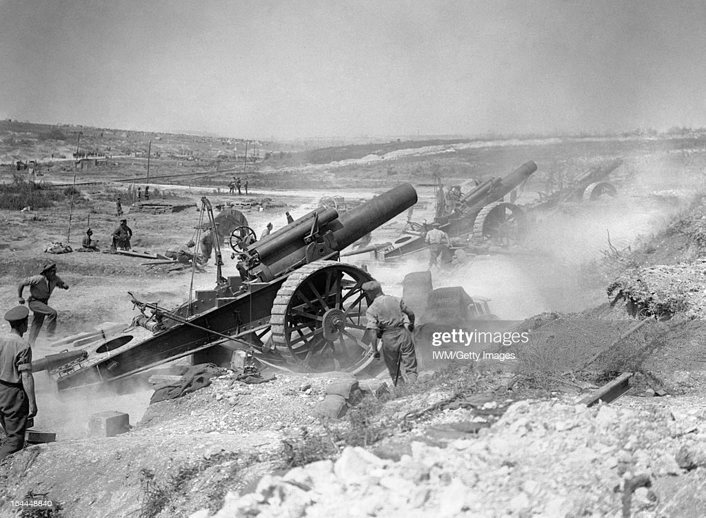 The British Army On The Western Front In 1916 Three 8inch howitzers of 39th Siege Battery Royal Garrison Artillery firing from the FricourtMametz...
