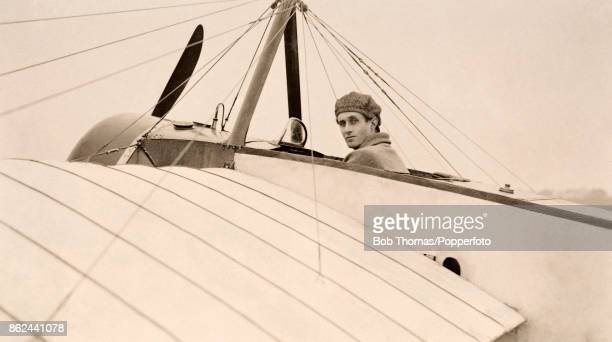 The British aviation pioneer C L Apps posing in the cockpit of his aircraft at an airfield in the south of England circa 1912