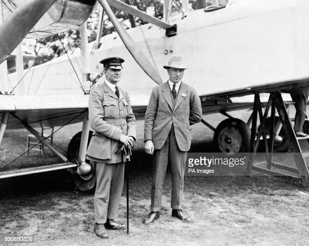 The British aviators John Alcock and Arthur Whitton Brown who completed the first nonstop transatlantic flight from Newfoundland to Ireland in a...
