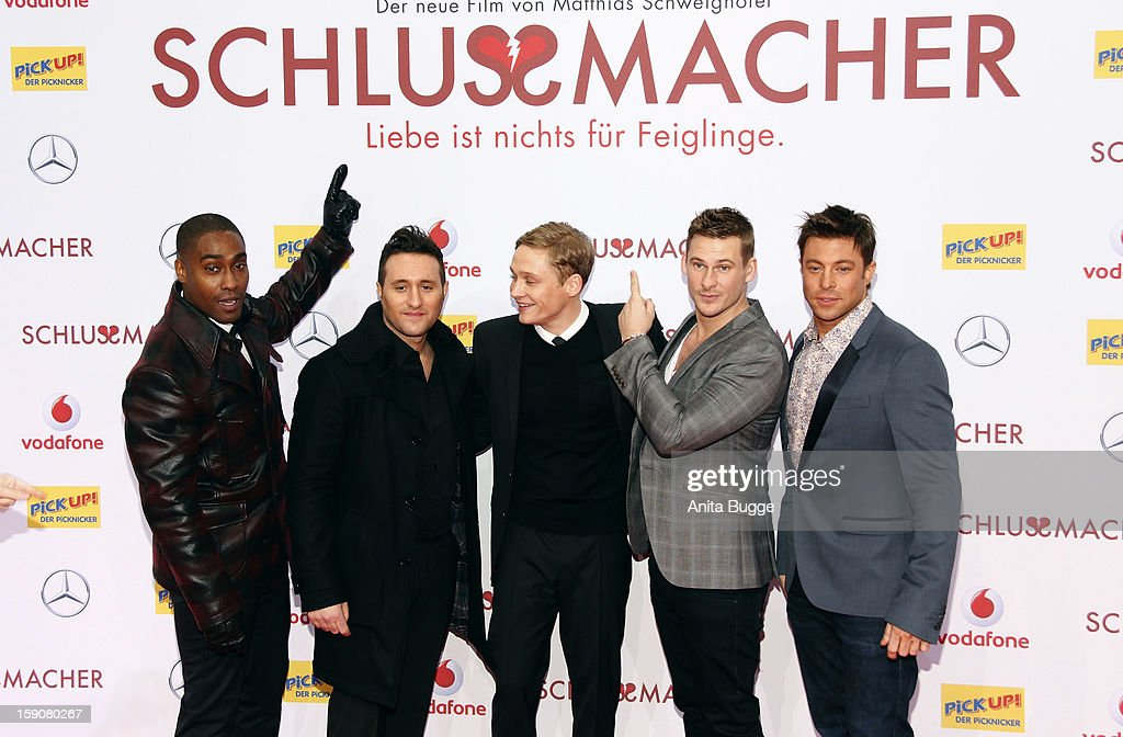 The british band 'Blue' and Matthias Schweighoefer (C) attend the 'Der Schlussmacher' Berlin Premiere at Cinemaxx on January 7, 2013 in Berlin, Germany