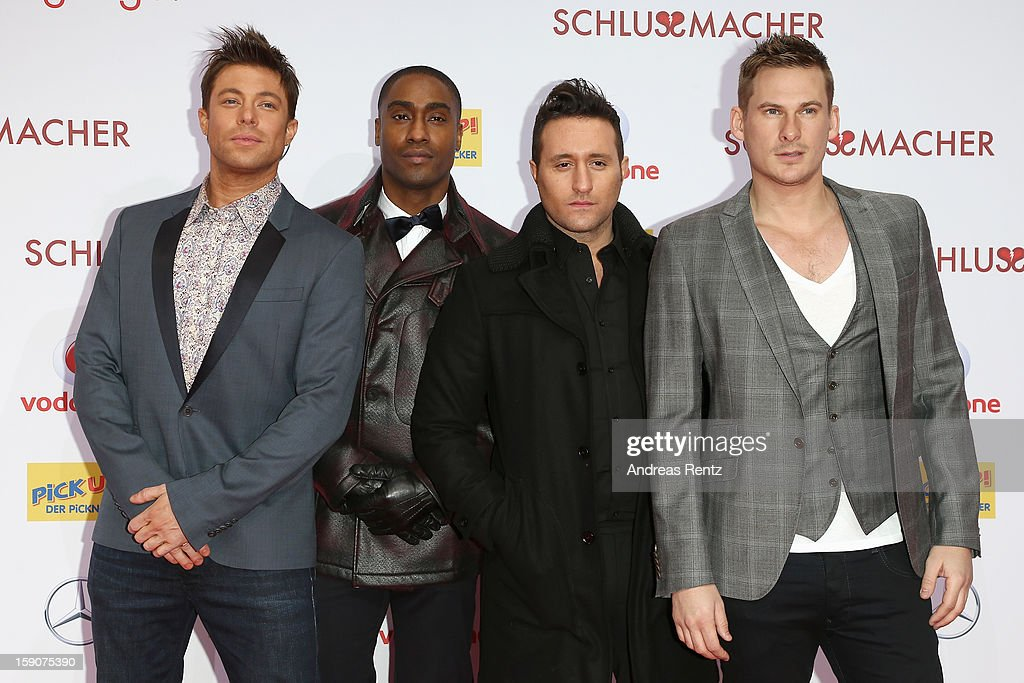 The british band 'Blue' attends the 'Der Schlussmacher' Berlin Premiere at Cinestar Potsdamer Platz on January 7, 2013 in Berlin, Germany.