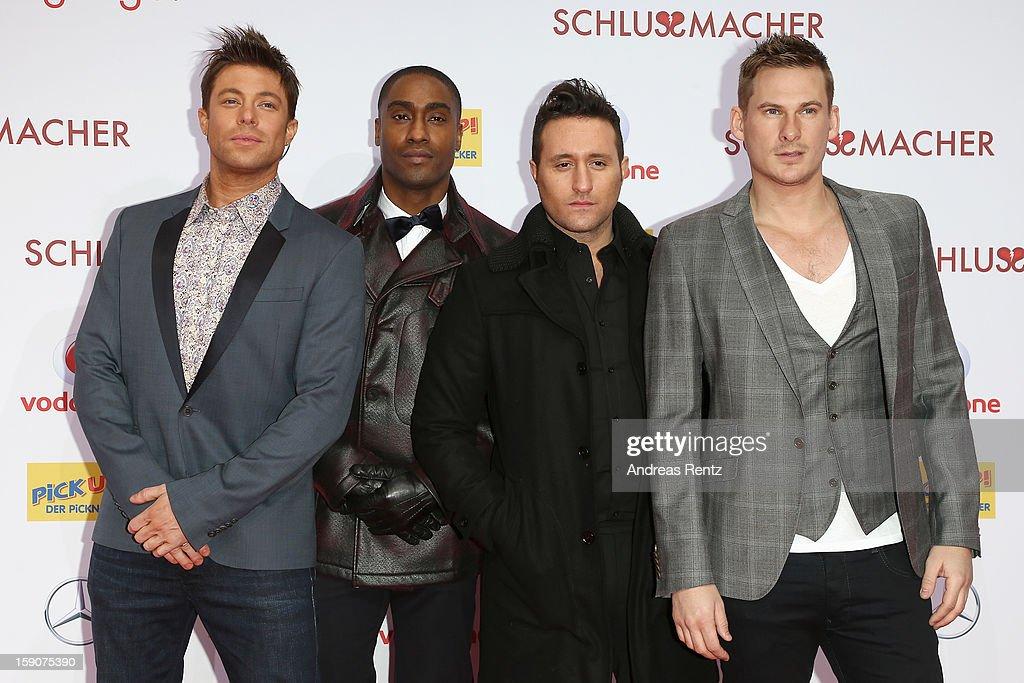The british band 'Blue' attends the 'Der Schlussmacher' Berlin Premiere at Cinestar Potsdamer Platz on January 7, 2013 in Berlin, Germany.