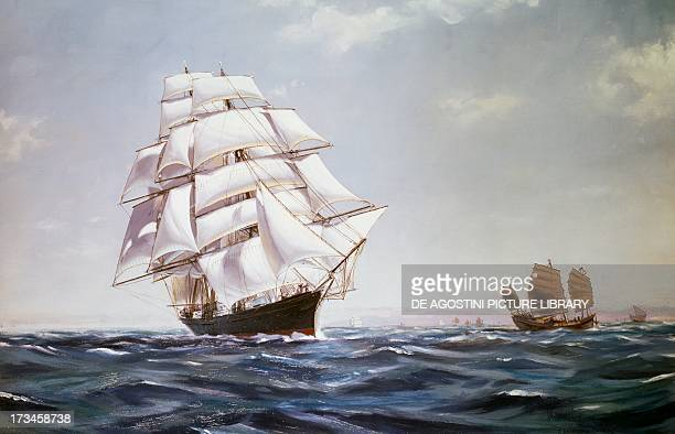 The British clipper the Cutty Sark sailing off the coast of China painting by Brazendale Cunnelly England 19th century