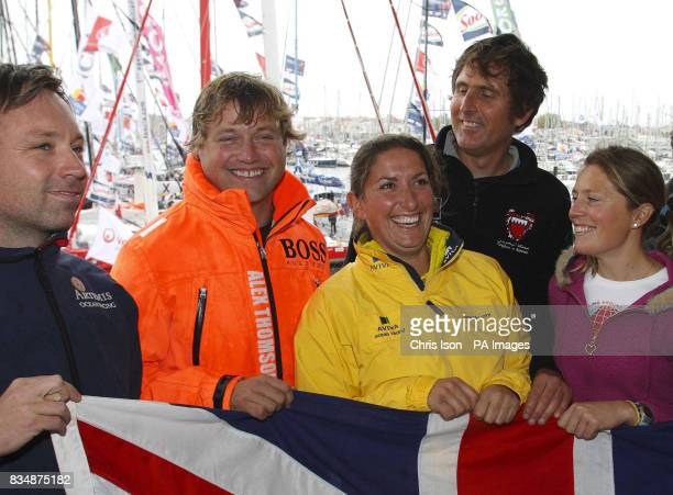 The British contingent prior to tomorrow's start of the Vendee Globe Race Jonny Malbon Alex Thomson Dee Caffari Brian Thompson Sam Davies during a...