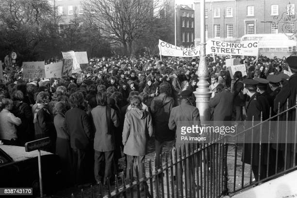 The British Embassy in Dublin besieged during demonstrations against the shooting deaths of 13 civilians in Londonderry by British Army troops