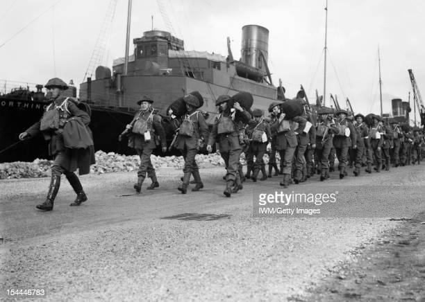 The British Expeditionary Force In France 19391940 Troops of 'B' Battery 9th Field Brigade Royal Artillery marching from the quayside having...