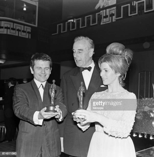 The British Film Academy Awards presented by Lord Mountbatten at Grosvenor House Pictured left to right Best Supporting Actor Ian Holm for 'The...