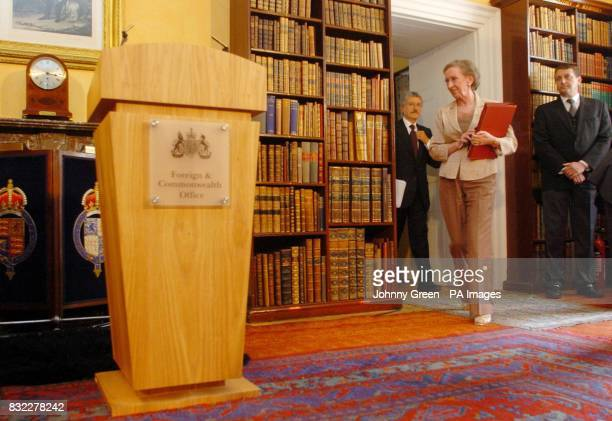 The British Foreign Secretary Margaret Beckett and her Italian counterpart Massimo D'Alema arrive for a joint press conference at Mrs Beckett's...