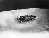 The British fourman bobsleigh team in action at the Winter Olympics at Chamonix February 1924 The team Ralph Broome Thomas Arnold Alexander...