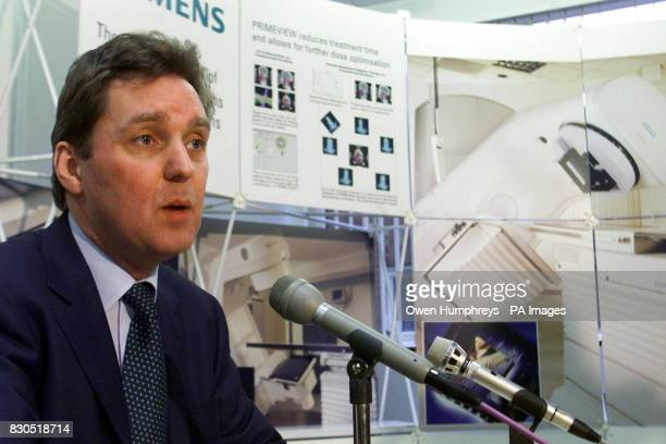 The British Health Secretary Alan Milburn during a visit to Newcastle General Hospital where he announced 875 million cash injection for the NHS to...