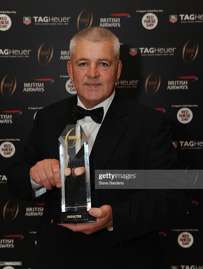 The British Lions Head Coach <a gi-track='captionPersonalityLinkClicked' href=/galleries/search?phrase=Warren+Gatland&family=editorial&specificpeople=686626 ng-click='$event.stopPropagation()'>Warren Gatland</a> is inducted into the Hall of Fame during the inaugural Premiership Rugby Hall of Fame Ball at the Hurlingham Club on February 7, 2013 in London, England.