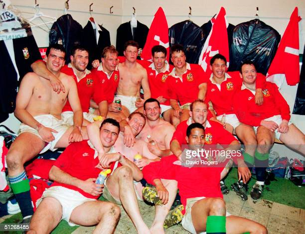The British Lions team celebrate victory after winning the second Test Match between New Zealand and the British Lions at Athletic Park on June 29...