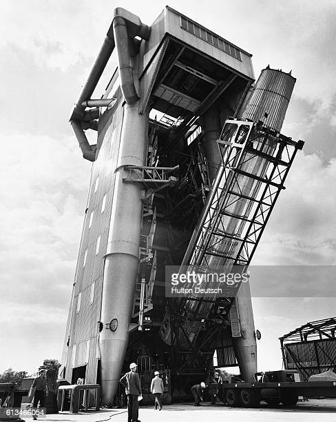 The British Long Range Ballistic Missile Blustreak sits in a test tower at the headquarters of de Havilland Propellers Limited at Hatfield England...