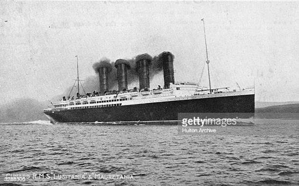 The British merchant ship 'Lusitania' at sea