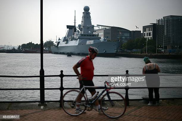The British naval vessel HMS Duncan is pictured docked in Cardiff Bay in Wales on September 3 on the eve of the NATO summit Some 67 world leaders...
