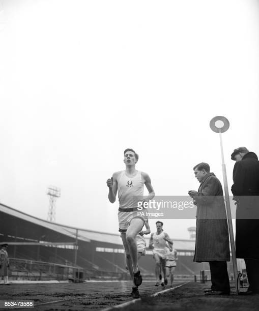 The British Olympic hope in the next Olympic Games 19yearold Roger Bannister wins the Mile Event in the University sports at the White City Stadium...
