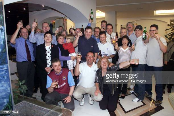 The British Plane Spotters Celebrate at their Hotel with their Families in Kalamata Greece as they win their appeal against being charged Guilty with...