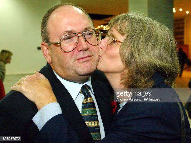 The British Plane Spotters Christopher Wilson from Gatwick gets a kiss from his wife Judy as they Celebrate the result in Kalamata Court Greece as...