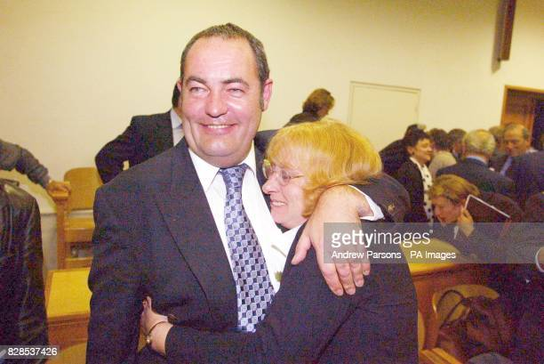 The British Plane Spotters Paul and Lesley Coppin from Mildenhall Suffolk celebrate in Kalamata Court Greece as they win their appeal against being...