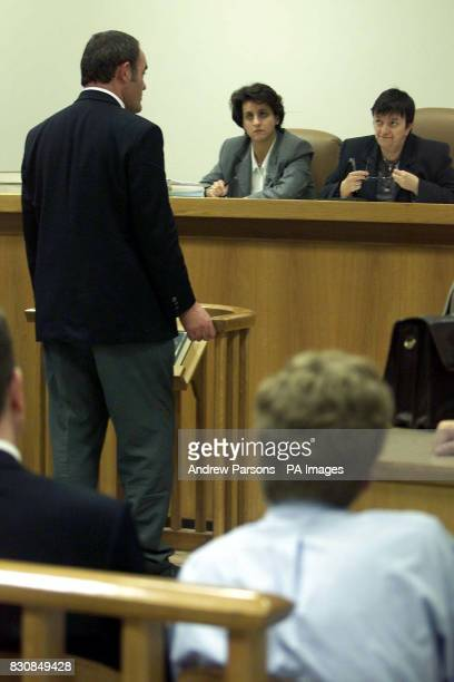 The British Plane Spotters Paul Coppin stands in front of the Judge telling his side of the story in Kalamata Court Greece on trial being charged...