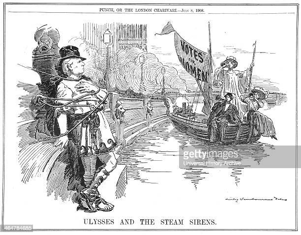 The British Prime Minister Herbert Asquith lashing himself to the Embankment at Westminster to protect himself from the sirens in the steamboat...