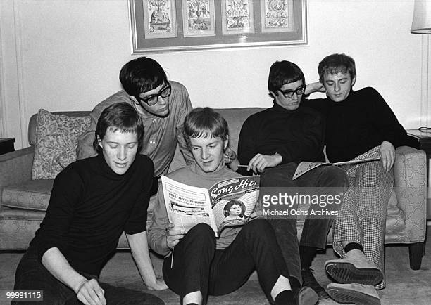 The British Rock and Roll group Manfred Mann relax in a hotel room circa 1965 in New York City New York