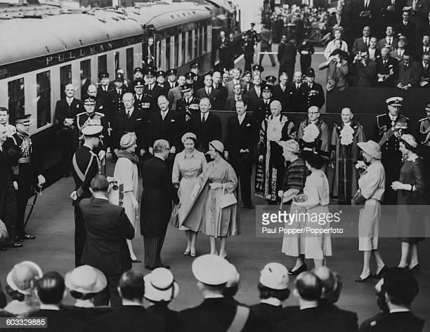 The British Royal Family greet President Giovanni Gronchi of Italy Prince Philip Duke of Edinburgh Carla Bissatini President Giovanni Gronchi Queen...