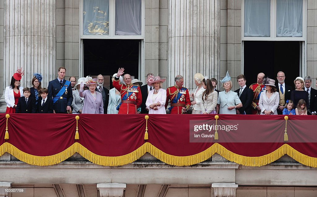 The British Royal Family including (L-R) Princess Eugenie, Princess Beatrice, Prince William, HM Queen Elizabeth II, Princess Michael of Kent, Prince Philip, Duke of Edinburgh, Camilla Duchess of Cornwall, Prince Charles, Prince of Wales, look out from the balcony of Buckingham Palace during trooping the colour on June 12, 2010 in London, England.