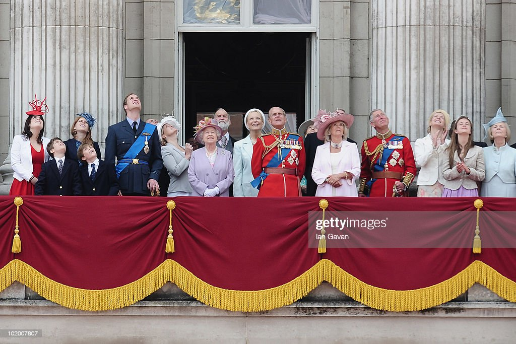 The British Royal Family including (L-R) Princess Eugenie, Princess Beatrice, Prince William, HM Queen <a gi-track='captionPersonalityLinkClicked' href=/galleries/search?phrase=Elizabeth+II&family=editorial&specificpeople=67226 ng-click='$event.stopPropagation()'>Elizabeth II</a>, Princess Michael of Kent, Prince Philip, Duke of Edinburgh, <a gi-track='captionPersonalityLinkClicked' href=/galleries/search?phrase=Camilla+-+Hertiginna+av+Cornwall&family=editorial&specificpeople=158157 ng-click='$event.stopPropagation()'>Camilla</a> Duchess of Cornwall, Prince Charles, Prince of Wales, look out from the balcony of Buckingham Palace on June 12, 2010 in London, England.
