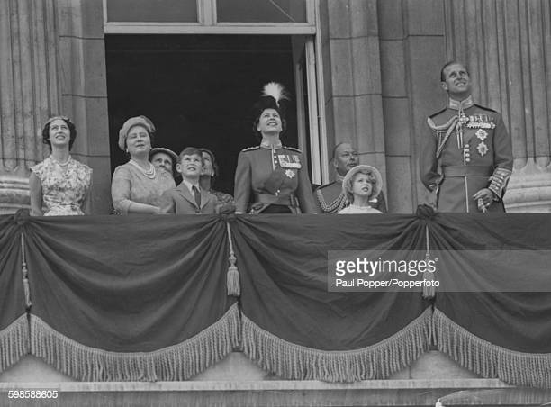 The British Royal family watch a Royal Air Force flypast from the balcony of Buckingham Palace Princess Margaret Queen Elizabeth the Queen Mother...