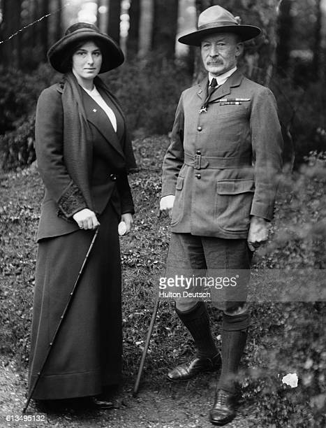 The British soldier who founded of the Boy Scouts Robert BadenPowell with his wife Lady BadenPowell ca 1910