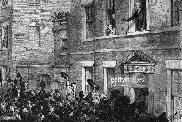 The British statesman George Canning greets a crowd of supporters during the Liverpool election of 1812 Canning's later proposal opposing European...