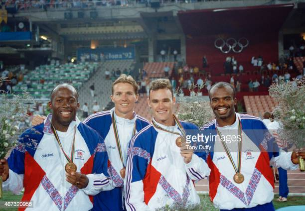 The British team take the bronze medal in the 4×400 metres relay at the 1992 Summer Olympics in Barcelona