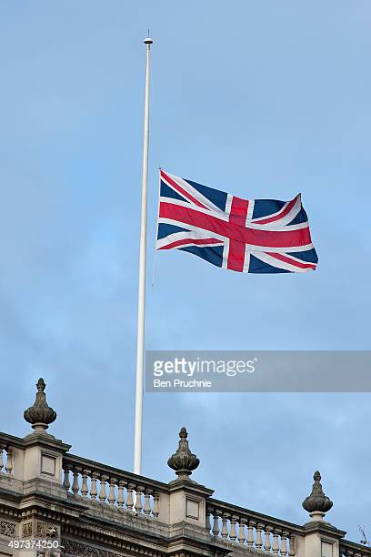 The British Union Jack flag flies at half mast on top of the Cabinet Office as people across London pay their respect to the victims of the terrorist...
